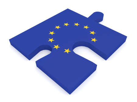 missing: Puzzle Piece EU Flag Missing Stars, 3d illustration