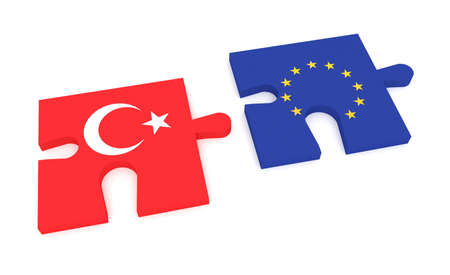 turkish flag: Connection: Puzzle Pieces Turkish flag and EU Flag, 3d illustration Stock Photo