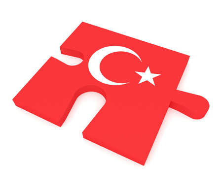 turkish flag: Turkey: Puzzle Piece Turkish Flag, 3d illustration Stock Photo