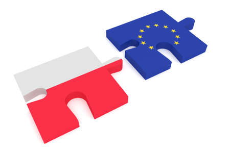 cooperate: Poland and the European Union: Puzzle Pieces Polish flag and EU Flag, 3d illustration Stock Photo