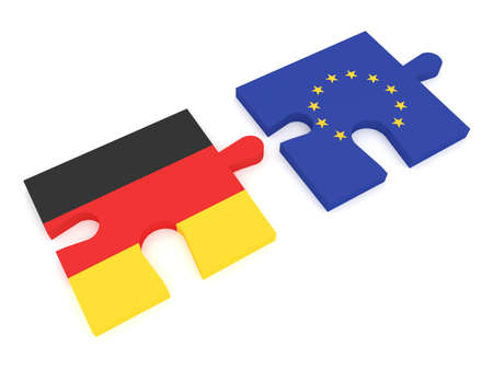 treaty: Germany and the European Union: Puzzle Pieces German flag and EU Flag, 3d illustration