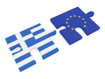 cooperate: Greece and the European Union: Puzzle Pieces Greek flag and EU Flag, 3d illustration Stock Photo