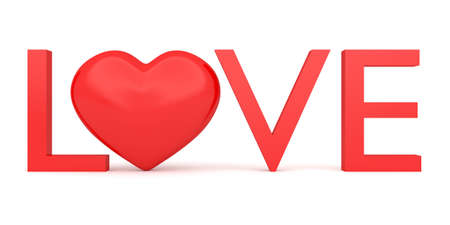 3d heart: Love: Text with glossy 3d heart symbol, 3d illustration