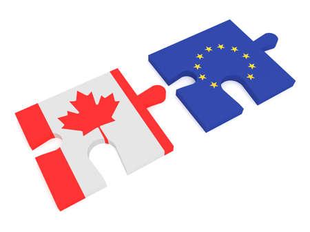 canadian flag: Partnership Canada and EU: Puzzle Pieces Canadian flag and EU Flag, 3d illustration