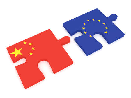 Partnership China and EU: Puzzle Pieces Chinese flag and EU Flag, 3d illustration