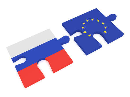 cooperate: Partnership Russia and EU: Puzzle Pieces Russian flag and EU Flag, 3d illustration Stock Photo