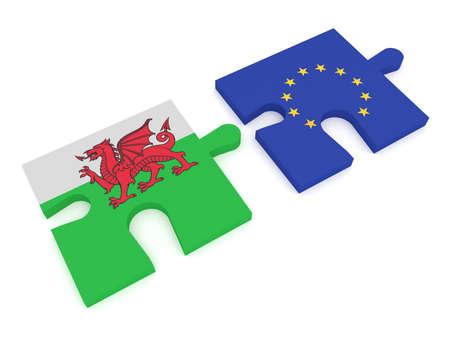 Galles e l'Unione Europea: Parti di puzzle Welsh bandiera e UE bandiera, illustrazione 3d