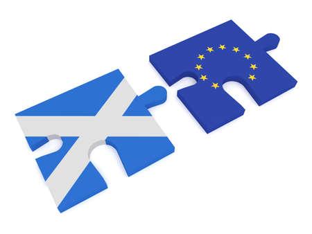 scottish flag: Scozia e l'Unione Europea: Puzzle bandiera Pezzi scozzese e UE bandiera, illustrazione 3d