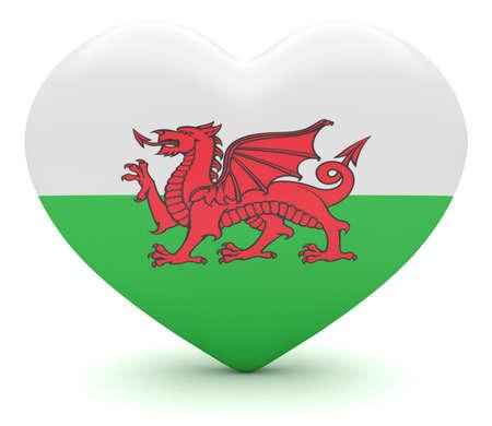 welsh flag: Love Wales: Welsh Flag Heart, 3d illustration