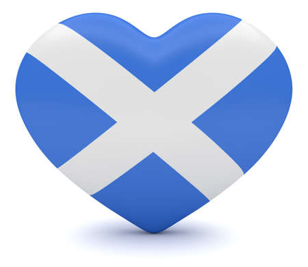 scottish flag: Amore Scozia: Scottish Flag Cuore, illustrazione 3d Archivio Fotografico