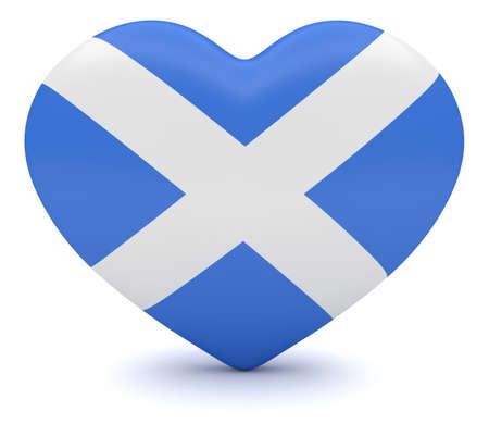 heart 3d: Love Scotland: Scottish Flag Heart, 3d illustration