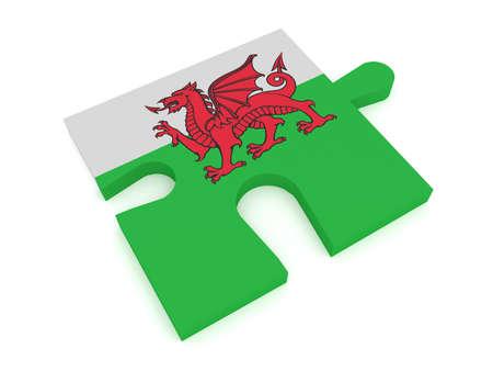welsh flag: Wales: Puzzle Piece Welsh Flag, 3d illustration Stock Photo