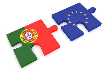 international business agreement: Portugal and EU: Puzzle Pieces Portuguese flag and EU Flag, 3d illustration