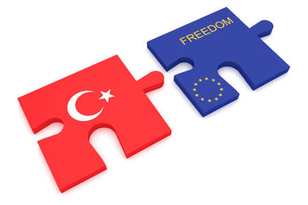 argument: Turkey EU Crisis: Turkish Flag And EU Flag Freedom Puzzle Pieces, 3d illustration Stock Photo