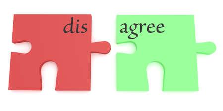 estar de acuerdo: Convincentes: rojo y verde de acuerdo o en desacuerdo pedazos del rompecabezas, ilustración 3d