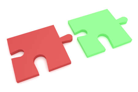 compatible: Light Red And Green Puzzle Pieces, 3d illustration
