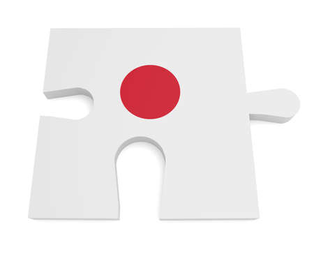 hinomaru: Hinomaru Japan Flag Puzzle Piece, 3d illustration Stock Photo