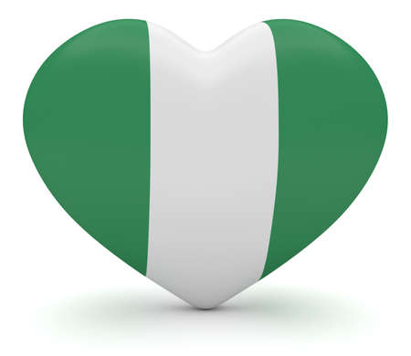 heart 3d: Love Nigeria: Nigerian Flag Heart, 3d illustration Stock Photo