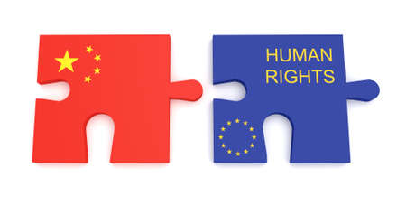 derechos humanos: EU China Partnership: Chinese Flag And EU Flag Human Rights Puzzle Pieces, 3d illustration Foto de archivo