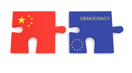 asian business team: EU China Partnership: Chinese Flag And EU Flag Democracy Puzzle Pieces, 3d illustration