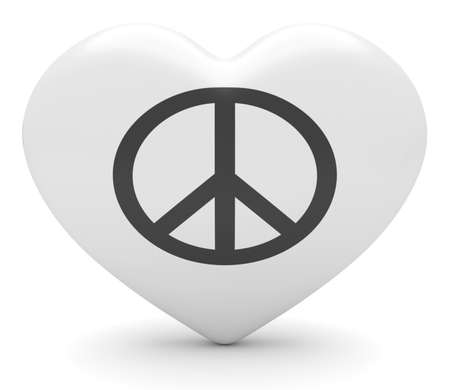 heart 3d: Simple Glossy Peace Sign Heart, 3d illustration