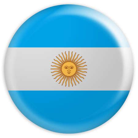 Glossy Badge Flag of Argentina, 3d illustration
