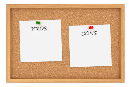 cons: Pros And Cons: Cork Board With Wooden Frame Isolated On White Background, 3d illustration Stock Photo