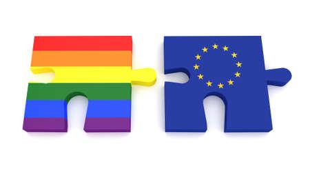 european culture: Puzzle Pieces  Pride Rainbow Flag And EU Flag, 3d illustration
