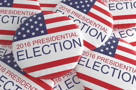 political rally: Pile Of US Presidential Election 2016 Badges, 3d illustration Stock Photo