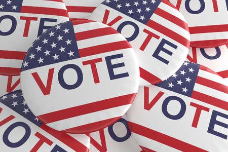 political rally: Pile of US Election Vote Badges, 3d illustration