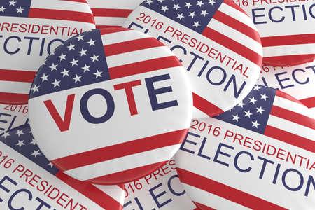presidential: Pile of Presidential Election 2016 Vote Badges, 3d illustration