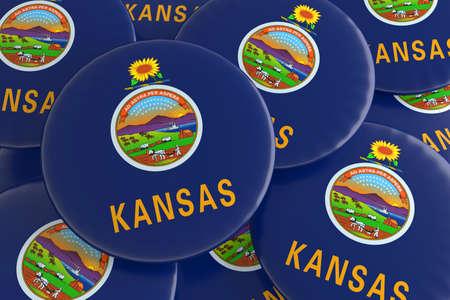 us state flag: Pile of Kansas US State Flag Badges, 3d illustration