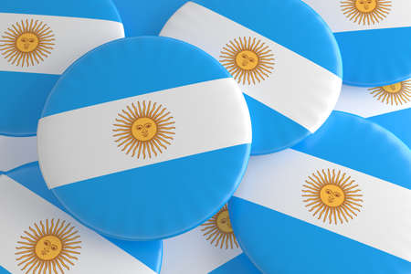 argentina flag: Pile of Argentina Flag Badges, 3d illustration Stock Photo