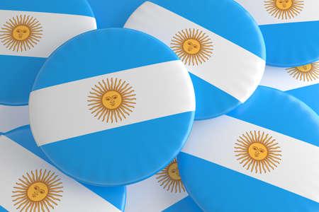 Pile of Argentina Flag Badges, 3d illustration Stock Photo