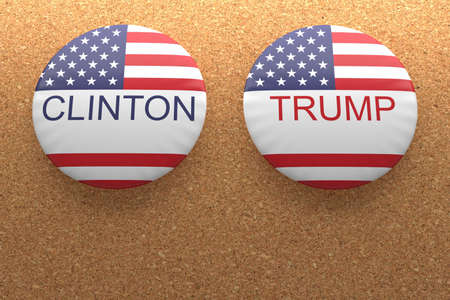 political rally: BERLIN, GERMANY - AUGUST 9, 2016: US Presidential Election 2016: Clinton And Trump Badges On Cork, 3d illustration