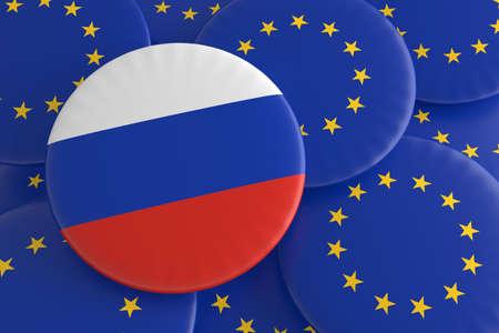 european union flag: Partnership Russia EU: Russian Flag And European Union Flag Badges, 3d illustration