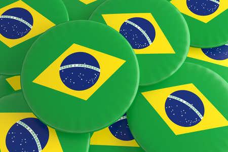 Pile of Brazil Flag Badges, 3d illustration