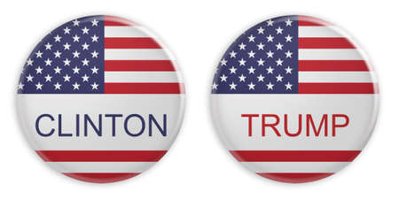 BERLIN, GERMANY - AUGUST 10, 2016: US Presidential Election 2016: Clinton And Trump Badges, 3d illustration