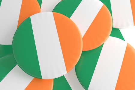 irish pride: Pile of Ireland Flag Badges, 3d illustration