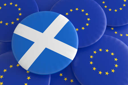 scottish flag: Scozia e L'Unione Europea: Bandiera scozzese e distintivi bandiera UE, illustrazione 3d