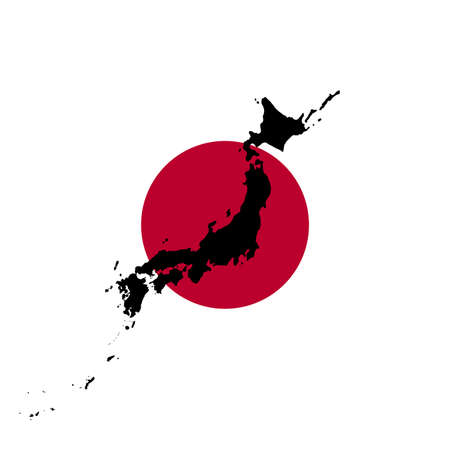 Japanese Flag With Black Map Silhouette of Japan, illustration