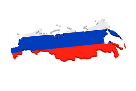 russia map: 3d Illustration of Russia Map With Russian Flag Isolated On White Background