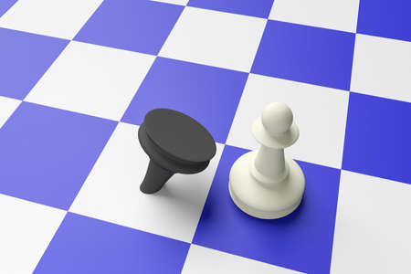 adversary: White Pawn Defeating Black Pawn On A Blue Chess Board, 3d illustration