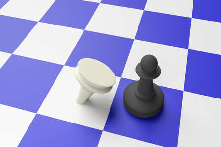adversary: Black Pawn Defeating White Pawn On A Blue Chess Board, 3d illustration