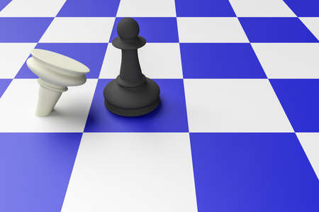 enemy: Black Pawn Defeating White Pawn On A Blue Chess Board, 3d illustration