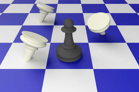 adversary: Black Pawn Defeating White Pawns On A Blue Chess Board, 3d illustration Stock Photo
