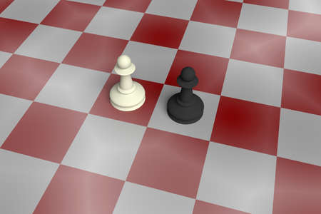 enemy: White And Black Pawn On A Noisy Red Chess Board, 3d illustration