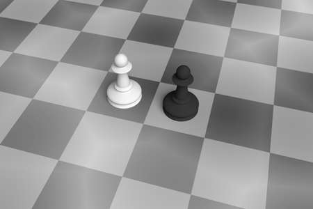 enemy: White And Black Pawn On A Noisy Chess Board, black and white 3d illustration