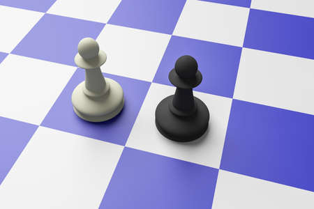 rival: White And Black Pawn On A Blue Chess Board, 3d illustration