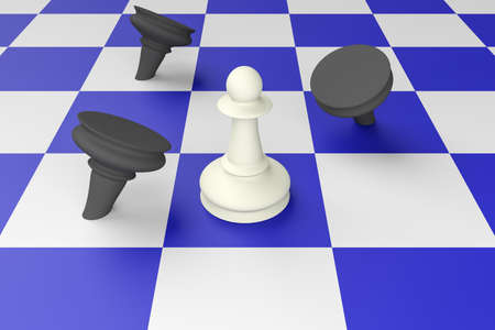 combatant: White Pawn Defeating Black Pawns On A Blue Chess Board, 3d illustration Stock Photo